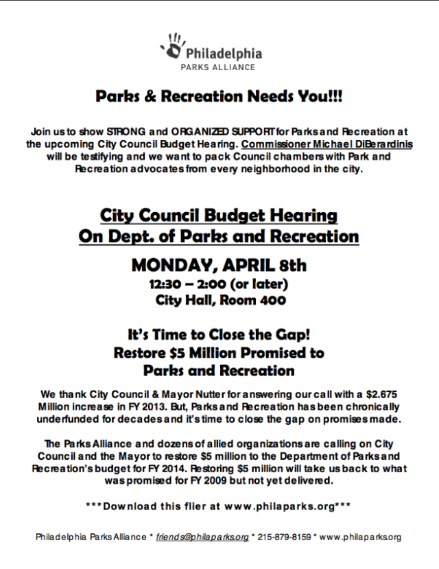 Today: Pack City Council with Parks Advocates! 12:30pm