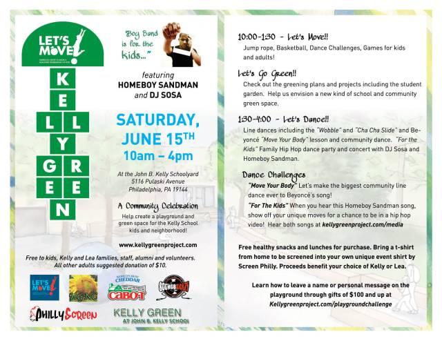 "Let's Move"" Kelly Green June 15 at John B  Kelly School"